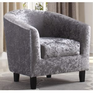 BBS1057  Hammond Tub Chair in Silver Crushed Velvet