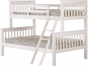 BuBS392  Neptune Triple Sleeper Bunk Bed in White