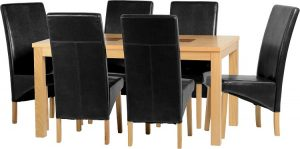 BBS405  Wexford 59inch Dining Set with Black Faux Leather chairs G1