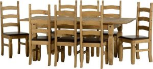BBS413  Corona Extending Dining Set   with Brown Faux Leather Seats