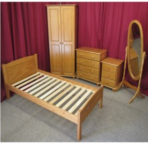 BBS635  Traditional Pine Bedroom set.  Includes  Single bed with mattress wardrobe chest locker