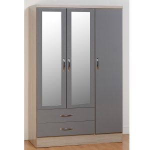 BBS1100  Nevada 3 Door 2 Drawer Wardrobe in Grey