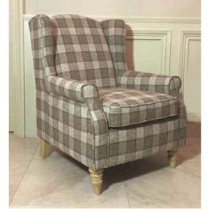 BBS1266  Coventry   Wing chair Brown Checkered.