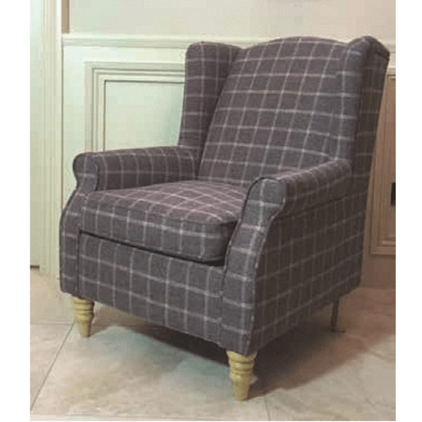 BBS1267  Coventry   Wing chair Grape Checkered.