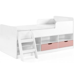 BuBS1285  Jasper low sleeper bed in white and pink gloss.