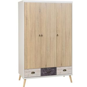 BBS1293  Nordic 3 door 3 drawer wardrobe