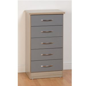 BBS1108  Nevada 5 Drawer Tallboy in Grey