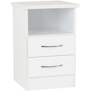 BBS1308  Nevada 2 Drawer Bedside locker   in White Gloss