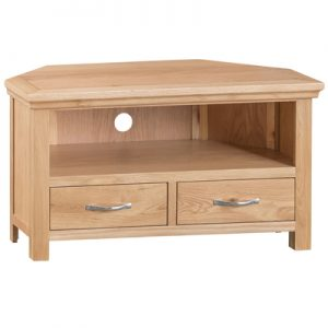 BBS1324  LW Corner TV Unit  in Light Oak and Natural Finish
