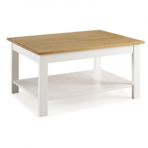 BBS1357  Whitney Coffee Table with Shelf - White