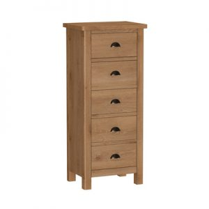 BBS1384  RAO 5 Drawer Narrow Chest Of Drawers in Oak.