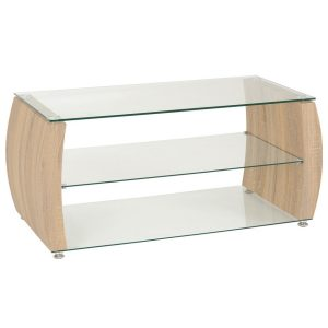BBS1454  Monza TV unit in Light Sonoma Oak Effect / Glass