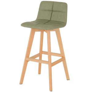 BBS1469  Darwin Bar chair (Pair) in Green Faux Leather.