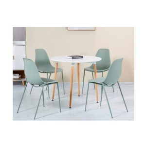 BBS1470  Lindon dining set with 4 chairs in White and Green.
