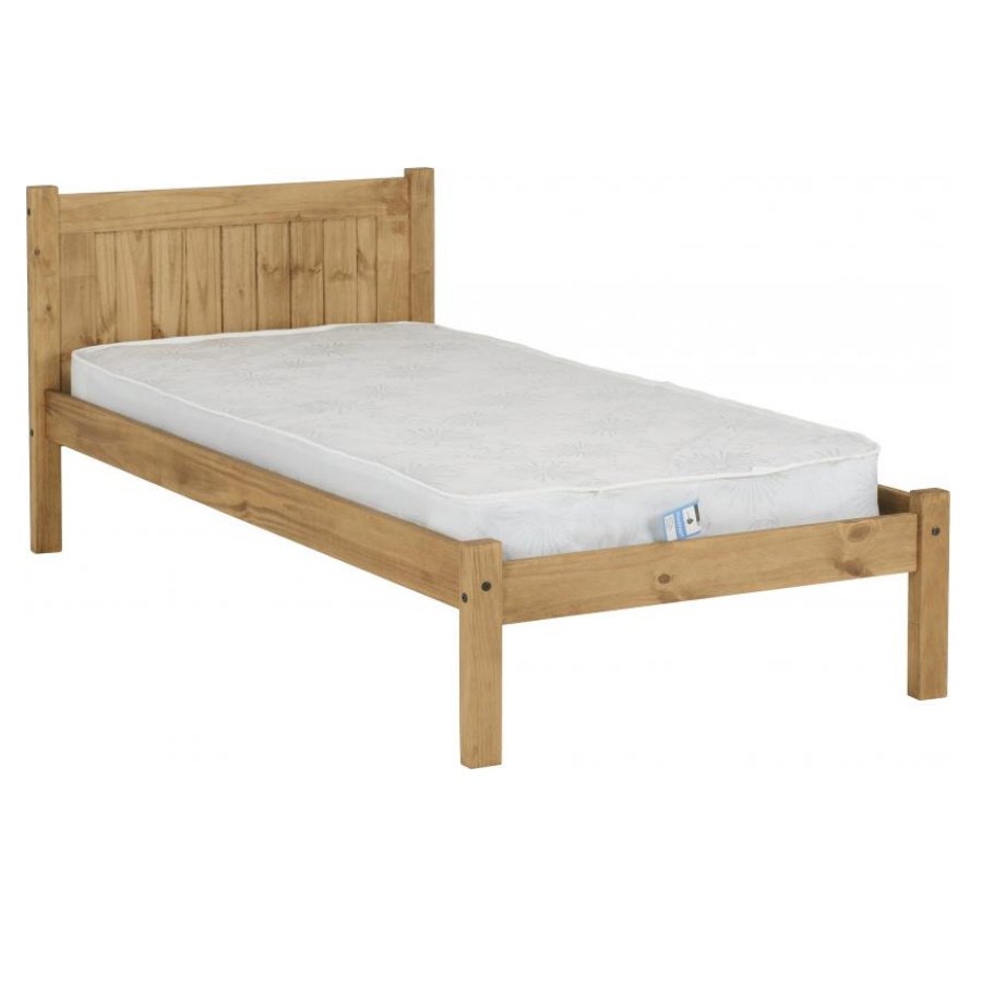 BuBS1507  Maya 3ft bed in Distressed Waxed Pine.