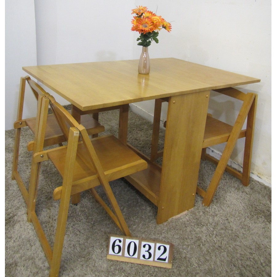 A6032  Stowaway table and 3 chairs.
