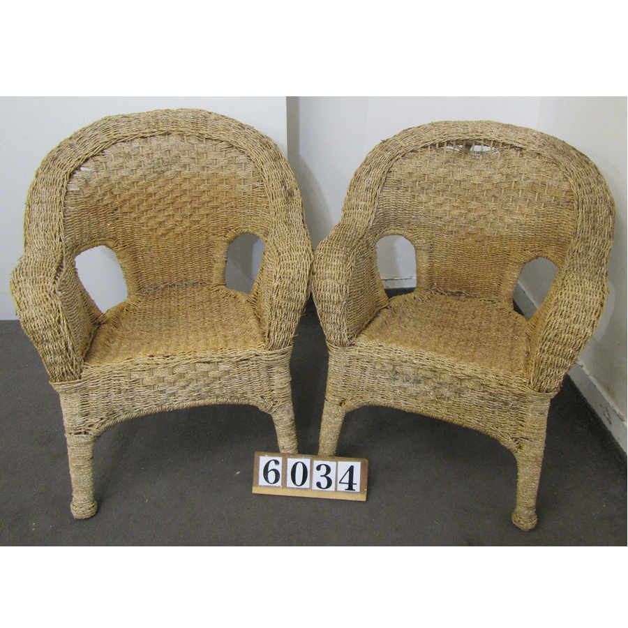 A6034  Pair of wicker chairs for restoration.